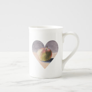 Apple on Table - Painting in Heart Tea Cup