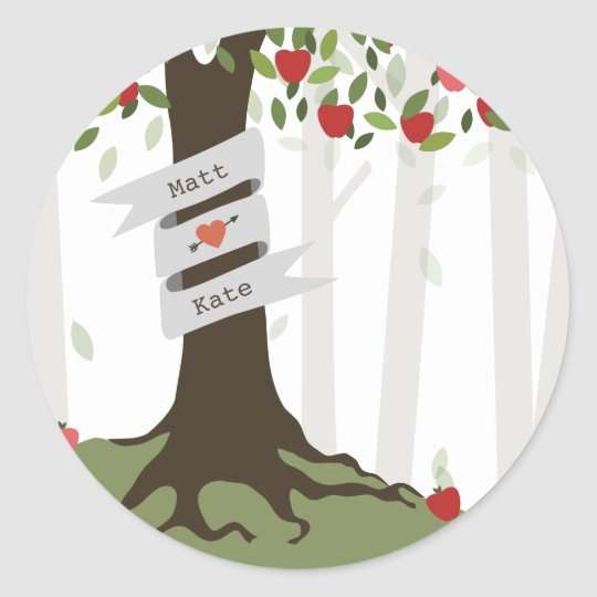 Apple Orchard Fall Autumn Wedding Classic Round Sticker