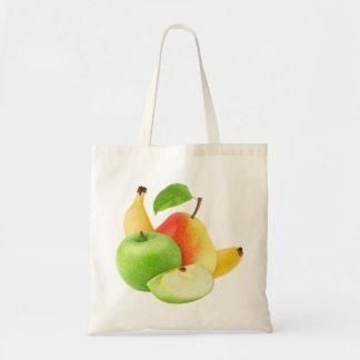 Apple, pear and banana budget tote bag