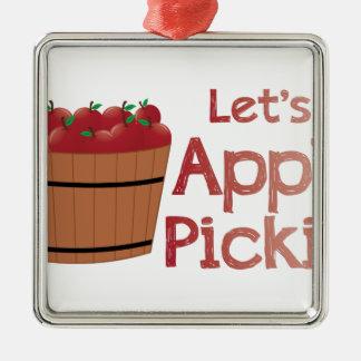 Apple Pickin Silver-Colored Square Ornament