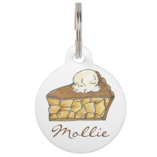 Apple Pie a la Mode Slice Dessert Pet Dog Tag Pet ID Tag