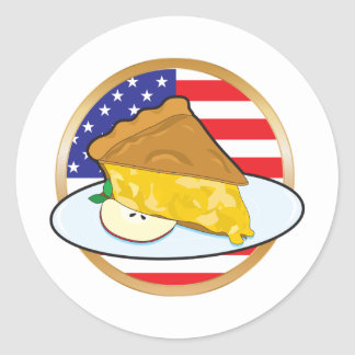 Apple Pie American Flag Classic Round Sticker