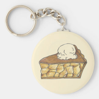 Apple Pie Slice Ice Cream Dessert Baking Keychain