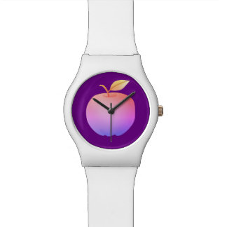 Apple Purple Artistic Vibrant Neon Stylish Modern Watch