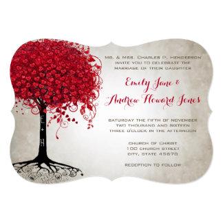 Apple Red Heart Leaf Tree Forest Wedding Card