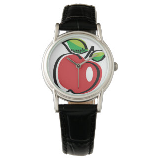 Apple Swoozle Women's Black Leather Strap Watch