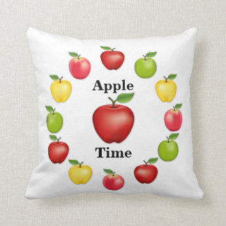 Apple Time, Delicious, Granny Smith, Pink Variety Throw Pillow