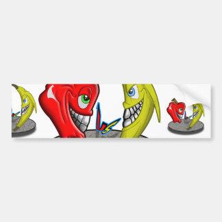 Apple Versus Banana Battle Humor Bumper Sticker