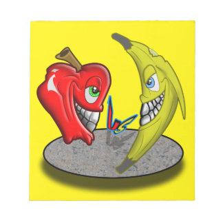 Apple Versus Banana Battle Humor Notepad