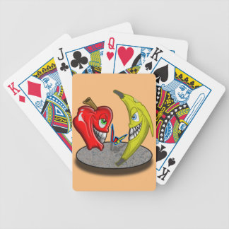 Apple Versus Banana Battle Humor Poker Deck