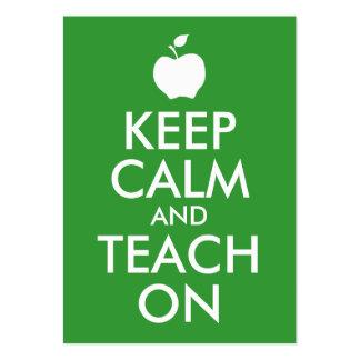 Apple vert gardent le calme et l'enseignent dessus cartes de visite personnelles