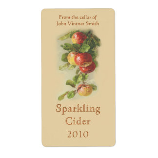 Apple wine bottle label shipping label