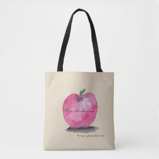 Apple with Teacher name, from student, custom Tote Bag