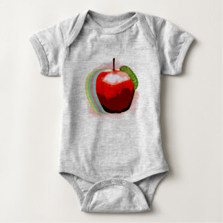 Apple with Worm Baby Bodysuit