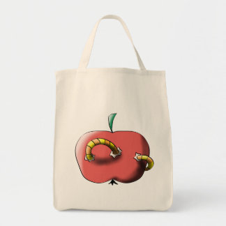 Apple with worm tote bag