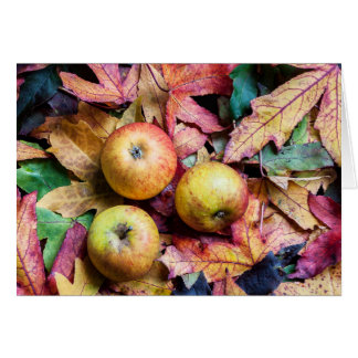 Apples and autumn leaves blank card