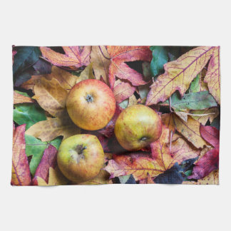 Apples and autumn leaves kitchen towel