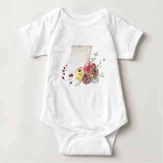 Apples and cones watercolour. baby bodysuit
