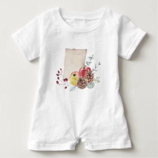 Apples and cones watercolour. baby romper