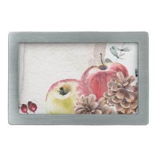 Apples and cones watercolour. belt buckle