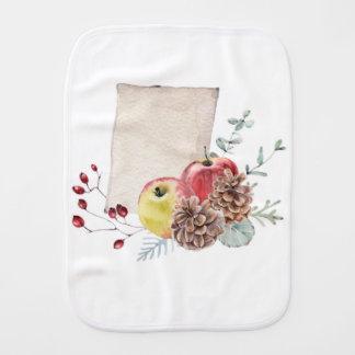 Apples and cones watercolour. burp cloth