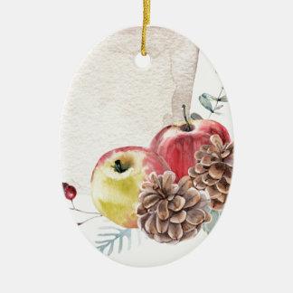 Apples and cones watercolour. ceramic ornament