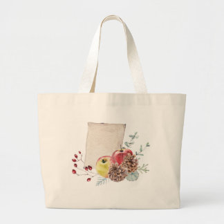 Apples and cones watercolour. large tote bag