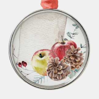 Apples and cones watercolour. metal ornament