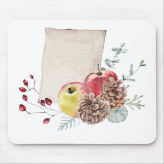 Apples and cones watercolour. mouse pad