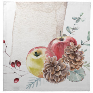 Apples and cones watercolour. napkin