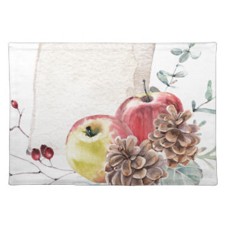 Apples and cones watercolour. placemat