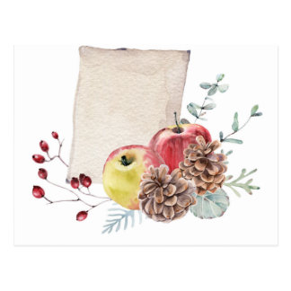 Apples and cones watercolour. postcard