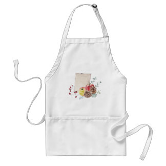 Apples and cones watercolour. standard apron