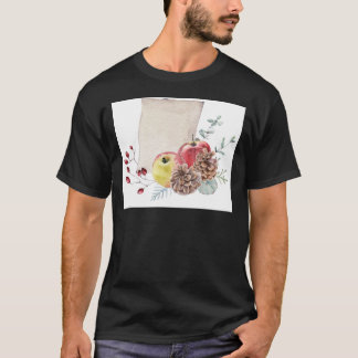 Apples and cones watercolour. T-Shirt