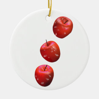 Apples and Drops Round Ceramic Ornament