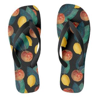 apples and lemons black flip flops