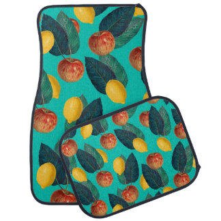 apples and lemons teal car mat