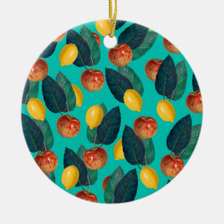 apples and lemons teal ceramic ornament