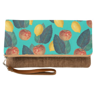 apples and lemons teal clutch