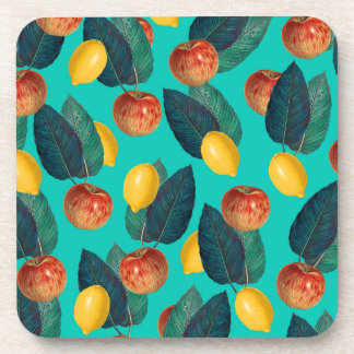 apples and lemons teal coaster