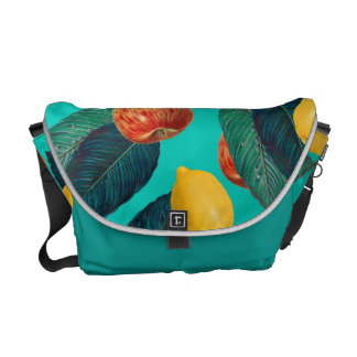 apples and lemons teal courier bags