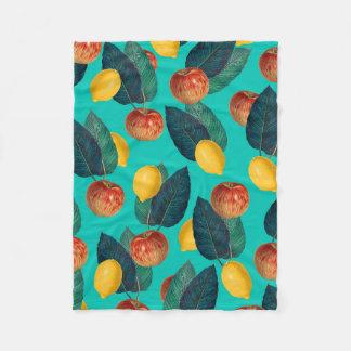 apples and lemons teal fleece blanket