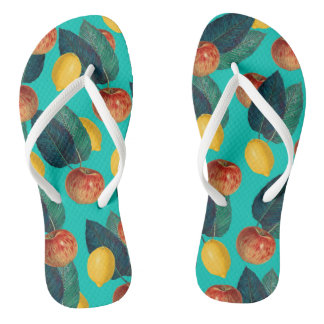 apples and lemons teal flip flops