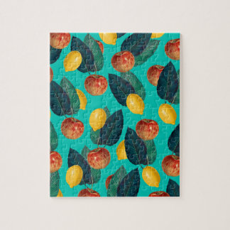 apples and lemons teal jigsaw puzzle
