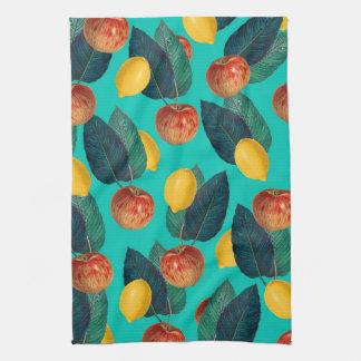 apples and lemons teal kitchen towel