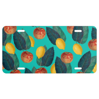 apples and lemons teal license plate