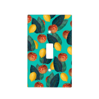 apples and lemons teal light switch cover