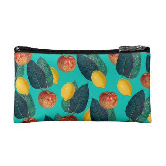 apples and lemons teal makeup bag