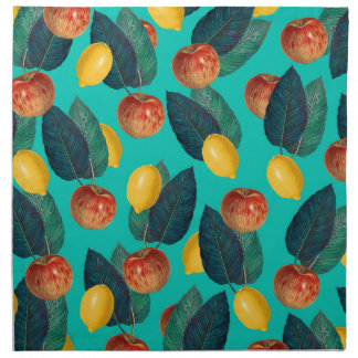 apples and lemons teal napkin