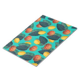 apples and lemons teal notepad